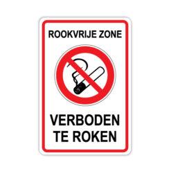 Bord Rookvrije zone - Verboden te roken